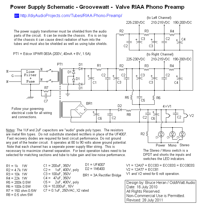 Power Supply Schematic - Groovewatt Tube (Valve) RIAA Phono Preamp ...