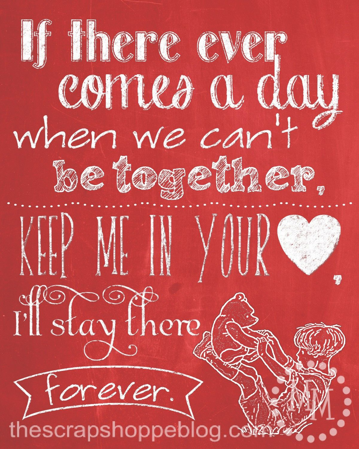 winnie the pooh chalkboard love quote free printable | love-quotes