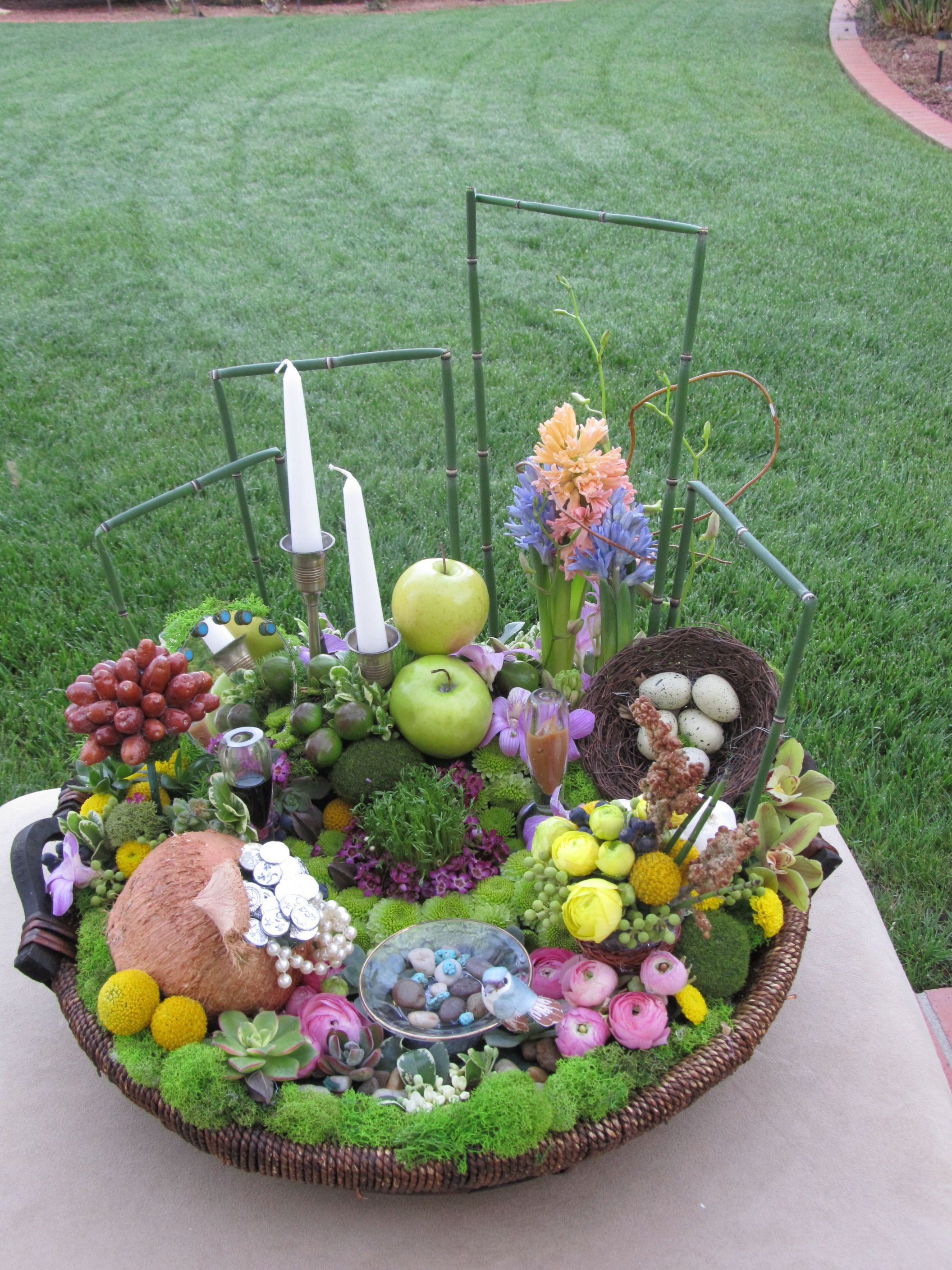 Persian New Year Arrangement In The Basket Spring Flowers With