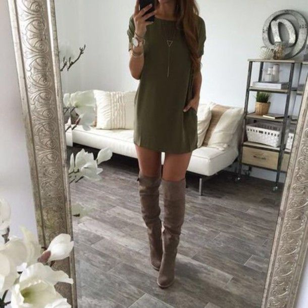 Army Green Dress Below Knee