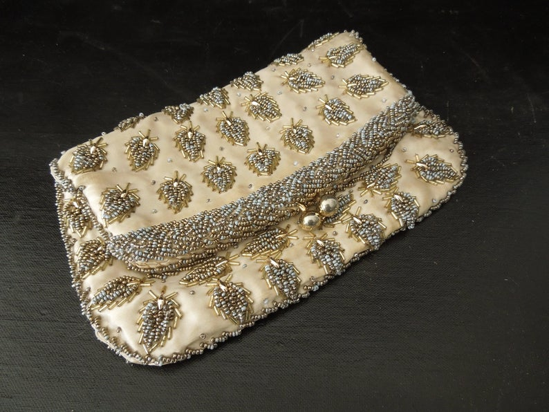 Photo of Clutch Purse Golden Cloth with  Gold Beading – Vintage Forma…
