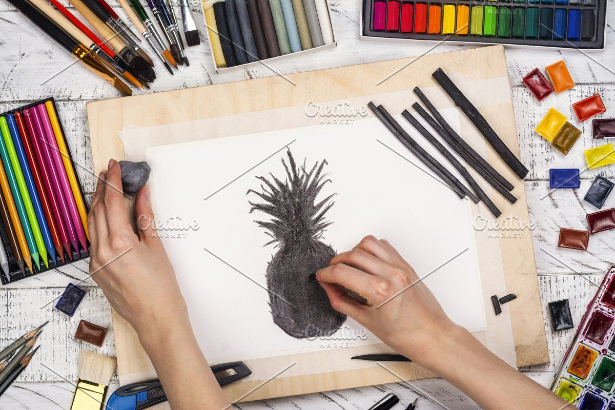 Charcoal sketch of a pineapple , #AFF, #Workplace#sketch#background#artist #affiliate