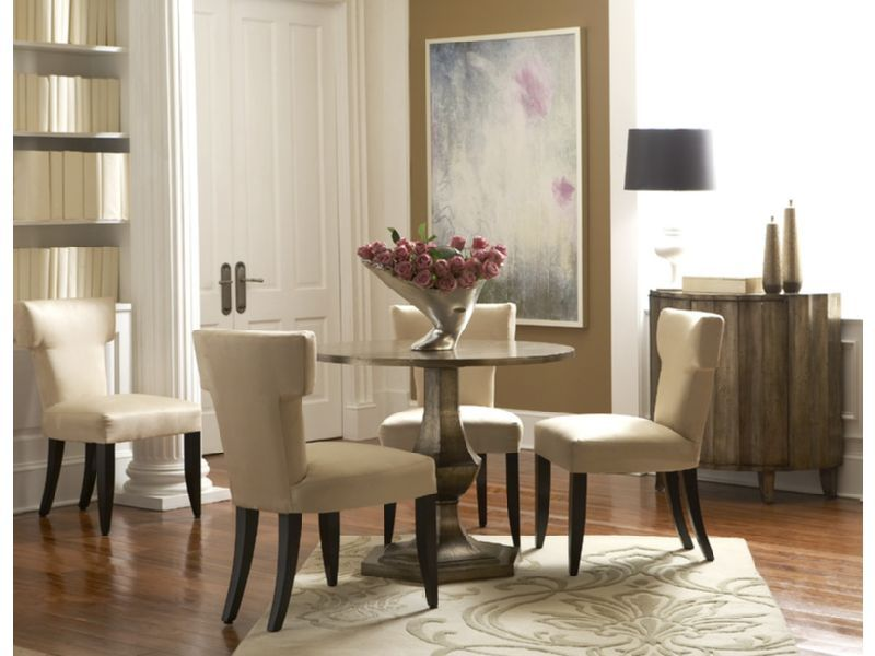 The Round Pedestal Of This Gold Tone Dining Table Has An Antiqued Gold  Finish. Itu0027s