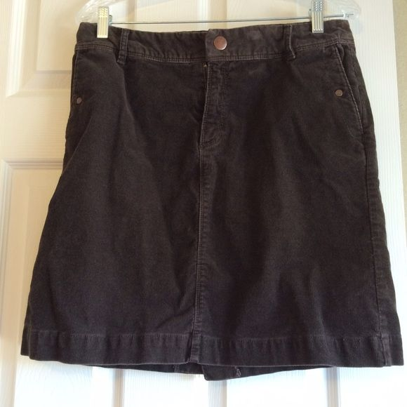 "Brown Corduroy Skirt Brown Corduroy Skirt from Merona. Size 8. Measures (front): waist 16"", length 18.5"". Merona Skirts Midi"