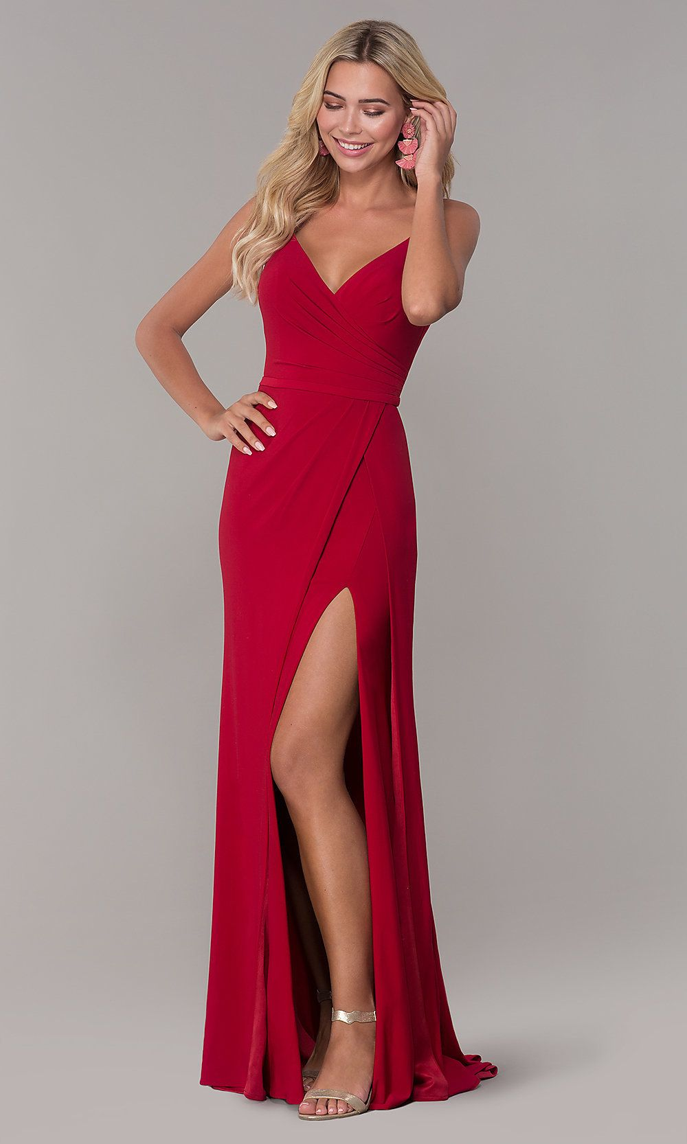 374751387f Shop Dave and Johnny long v-neck prom dresses with slits at PromGirl.  Sleeveless junior-size formal dresses for prom and designer floor-length  evening ...