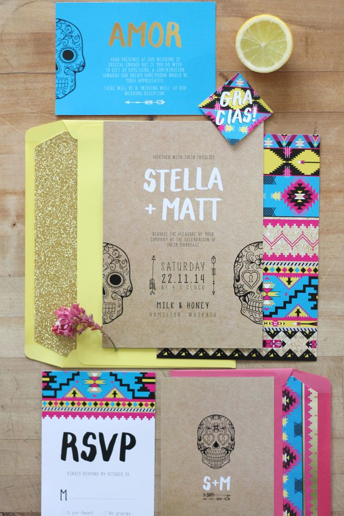 Just My Type Wedding Invitation Stationery Nz Mexico Mexican Pink Yellow Gold Glitter Party