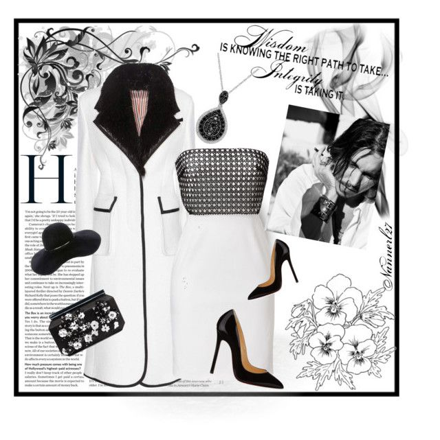 """""""In black & white..."""" by nannerl27forever ❤ liked on Polyvore featuring Thom Browne, Marios Schwab, Eugenia Kim, Christian Louboutin and Oscar de la Renta"""