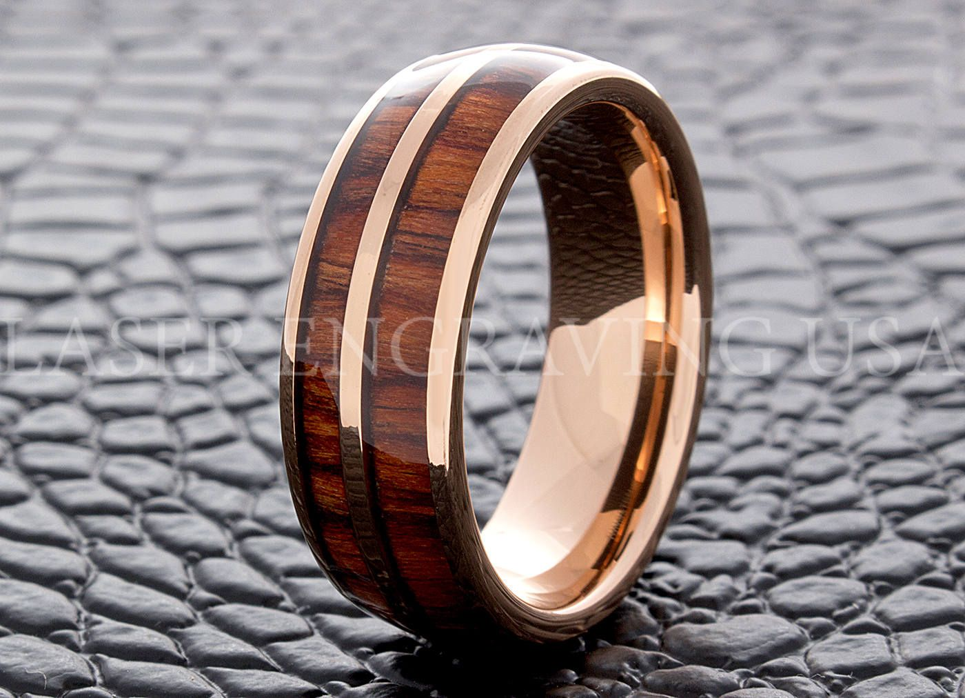 Tungsten Wedding Ring Tungsten Ring Rose Gold Wood Inlay