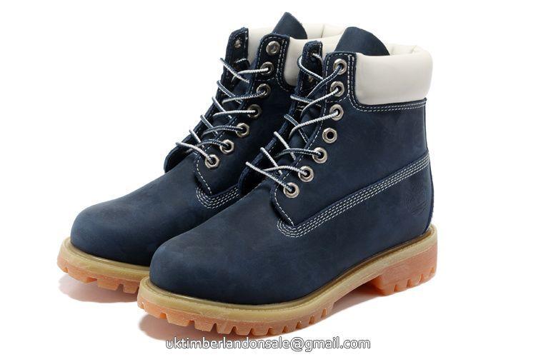 UK Timberland Women 6 Inch Premium Rubber-Sole Boot Navy-Blue and White -  Women's.