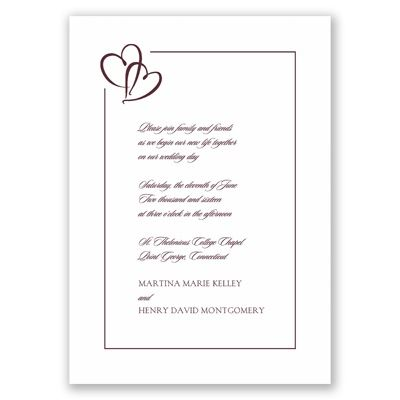 Bordered Hearts - Plum - Invitation