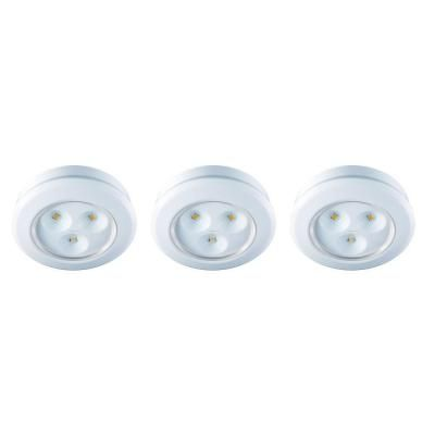Commercial Electric 2 99 In Led White Battery Operated Puck Light 3 Pack Ba002 Wh The Home Depot
