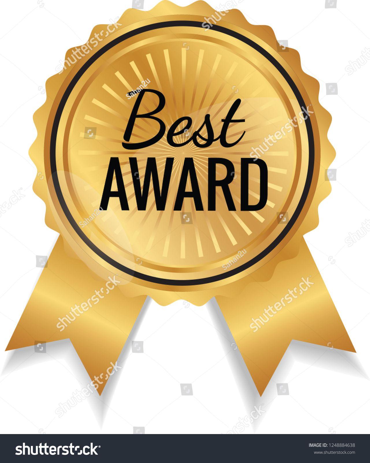 gold color best award ribbon batch logo icon vector