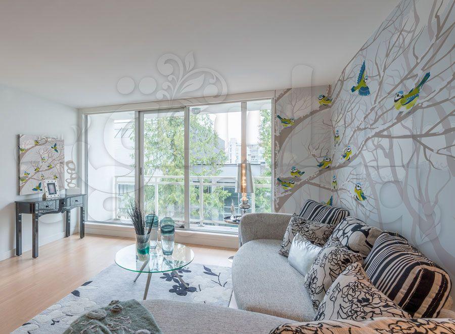 خلفية جدران عصافير على الشجرة Home Home Decor Decor