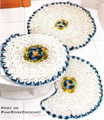 PINK ROSE CROCHET: Tapete de Barbante Flor Azul para Banheiro