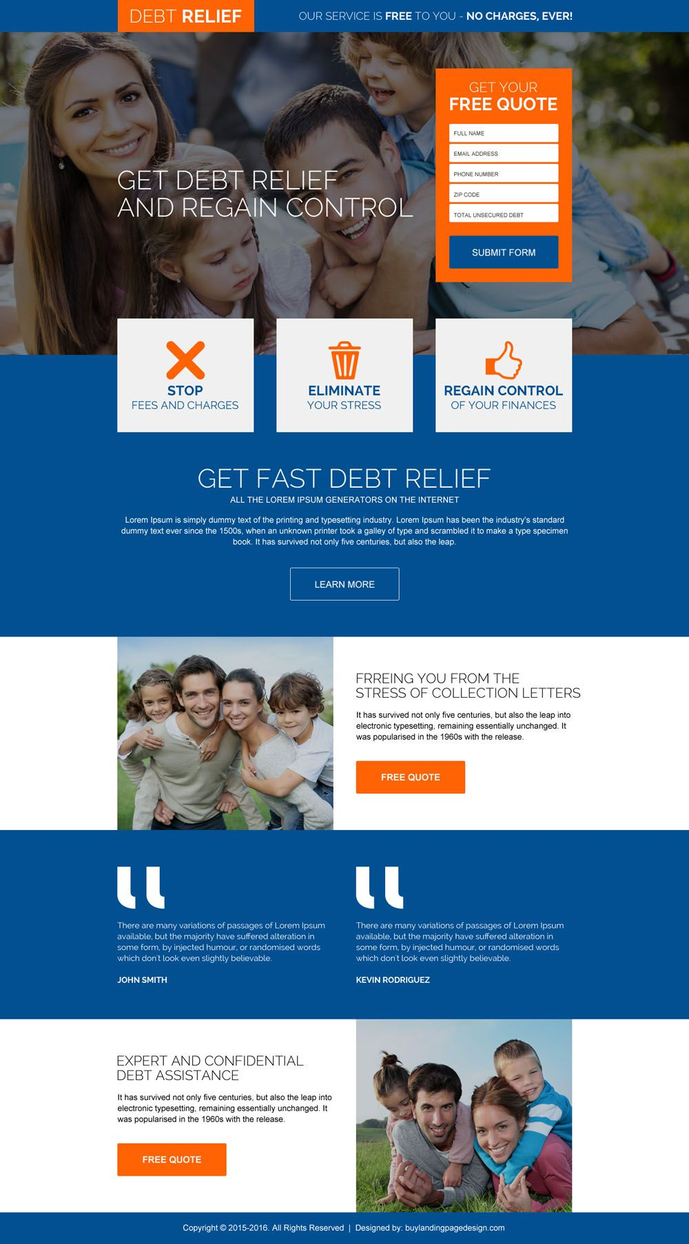 Fast Debt Relief Free Quote Responsive Landing Page Design Simple Website Design Modern Website Design Web Development Design