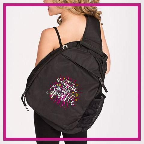 Don't Let Anyone Dull Your Sparkle! Fashion Bling Sling Bag with Rhinestone Logo
