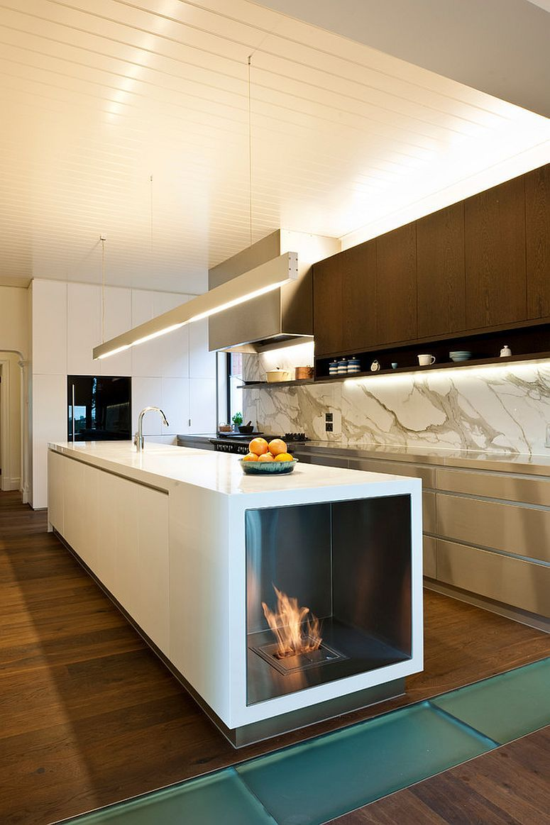 Stylish contemporary kitchen with fireplace built into the island design ecomodern design