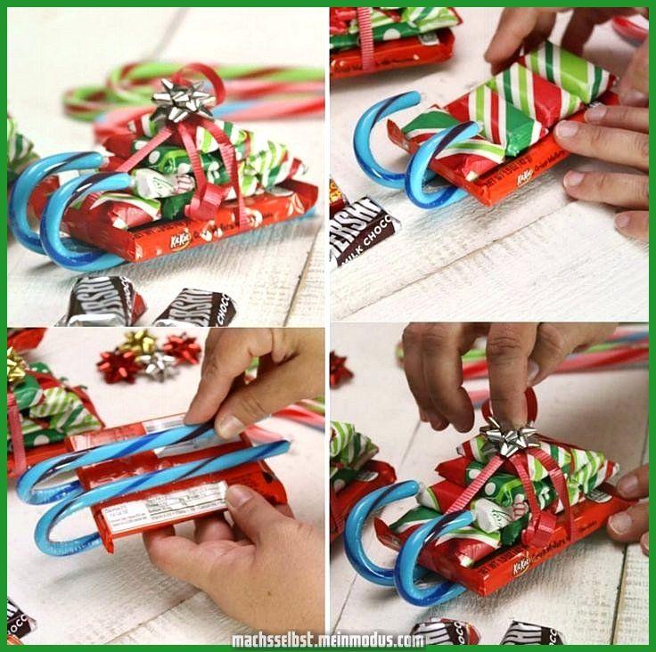 Elegante Weihnachtsgeschenke mit Kindern in Bonbonschlitten zeugen ... #geschenkebastelnmitkindernweihnachten
