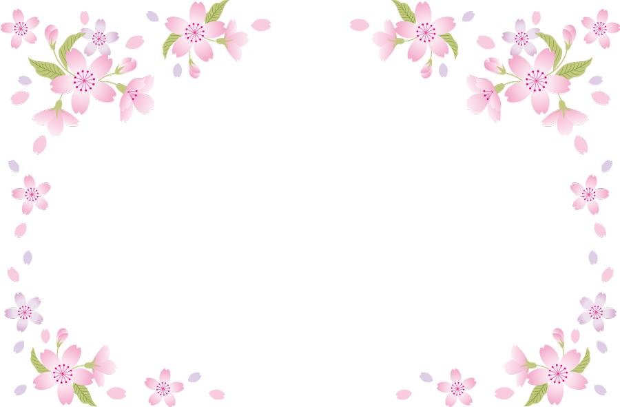 フリーイラスト さくらの花と花びらの飾り枠 飾り枠 花 イラスト フラワーカード