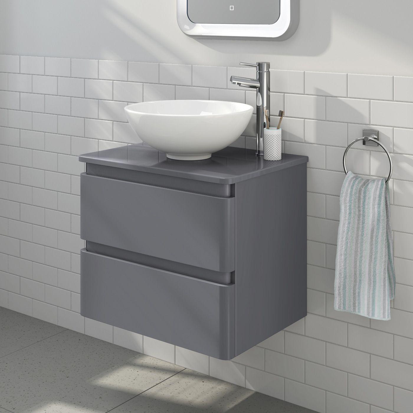 600mm Denver Ii Gloss Grey Countertop Unit Basin Wall Hung