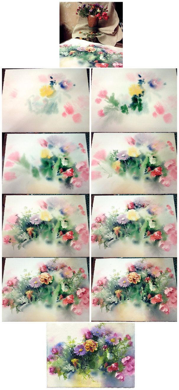 Flower bouquet painting tutorial watercolor on wet paper by