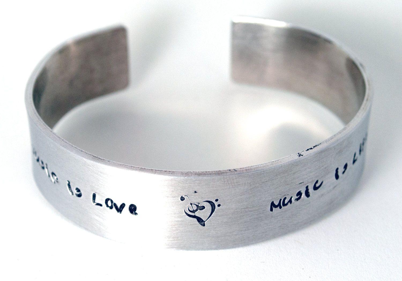 New to ZoesWishingWell on Etsy: Music Bracelet - Heart Clef - Hand Stamped Bracelet - Cuff Bracelet - Teacher Gift  (30.00 USD)
