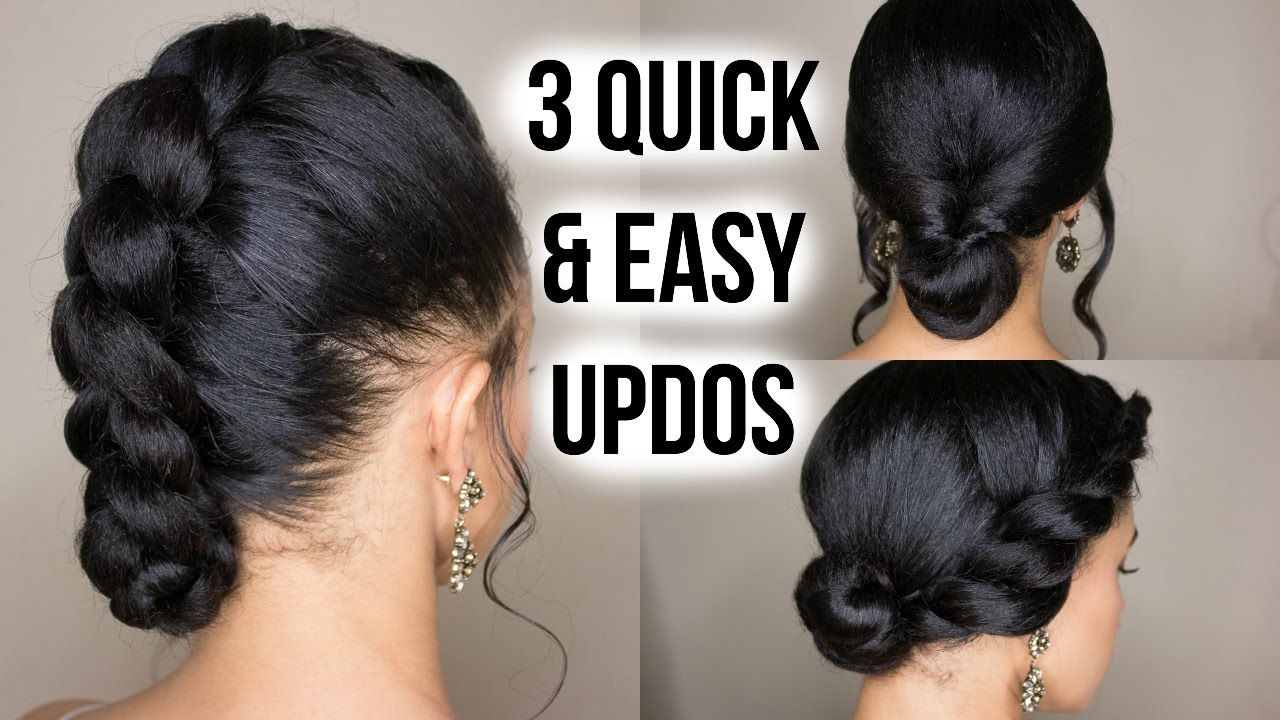 3 Quick Easy Updo Hairstyles On Straightened Natural Hair Video Natural Hair Updo Easy Updo Hairstyles Quick Easy Updos