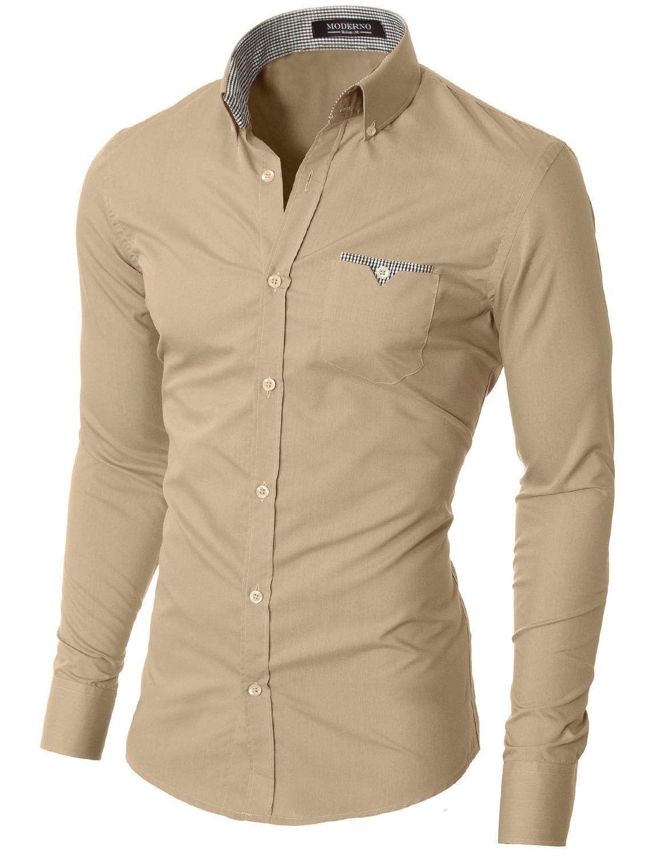 Moderno Mens Slim Fit Button Down Shirt Vgd063ls Beige Men Shirt Style Mens Shirts Mens Shirt Dress [ 1500 x 1150 Pixel ]