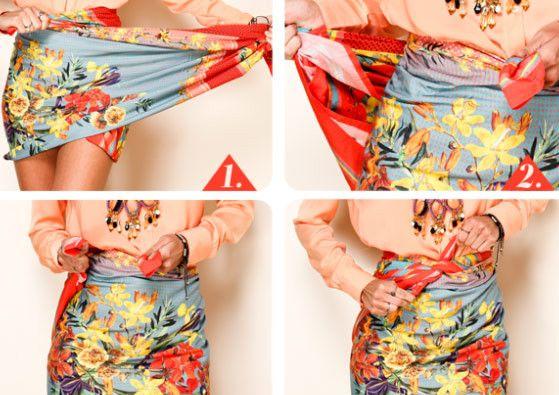 51bfd89ad46a Resultado de imagem para como amarrar canga como saia | carna | Saia ...
