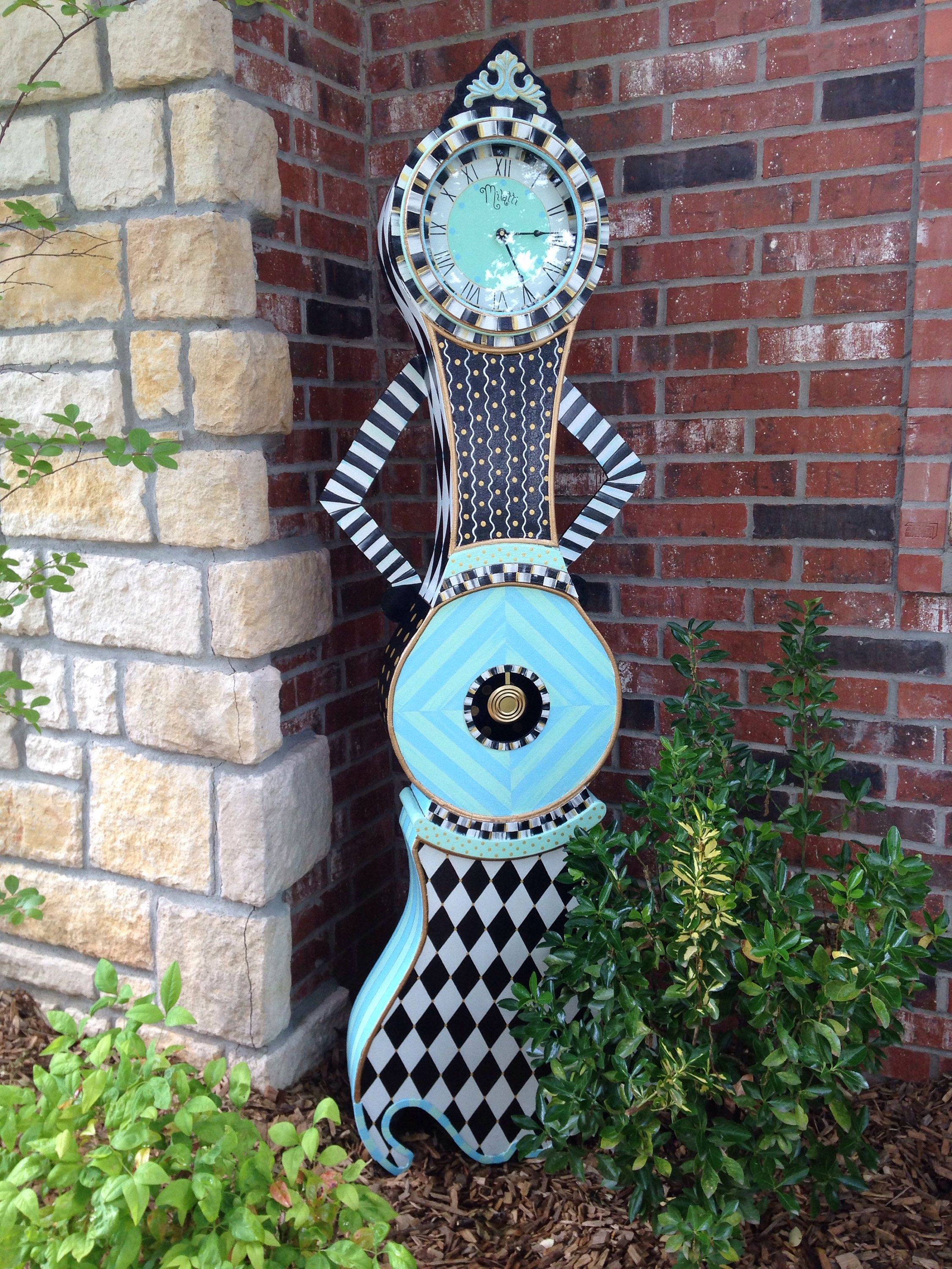 Whimsical Hand Painted Alice In Wonderland Grandfather Clocks