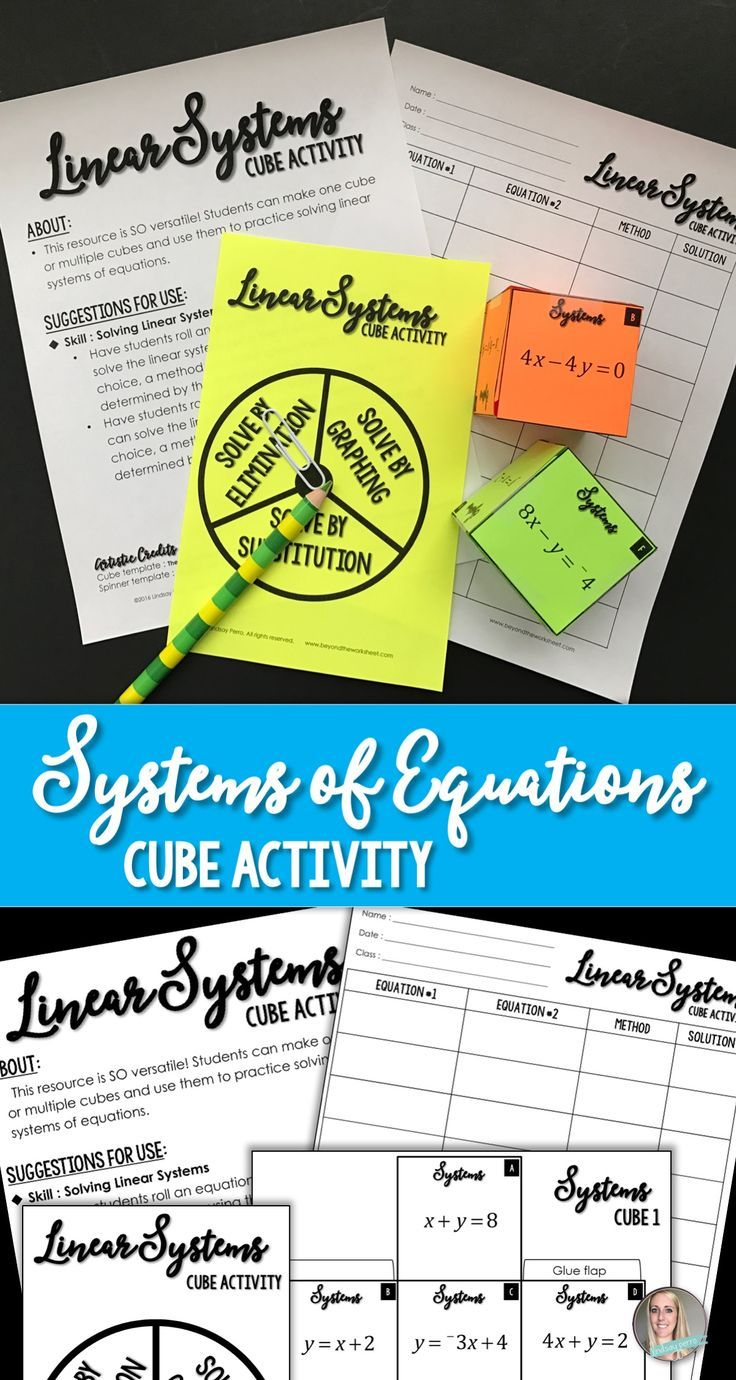 Systems of Linear Equations Cube Activity   Cooperative learning ...
