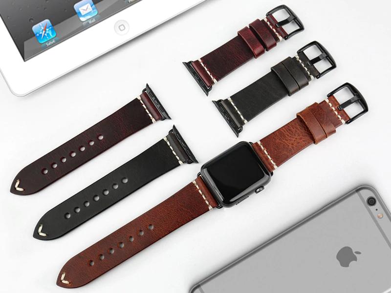 Apple Watch Leder Armband Echtleder Handgefertigt Vintage Look Apple Watch Series 1 2 3 4 Full Grain Leder Armband Leder Leder Apple Watch Band