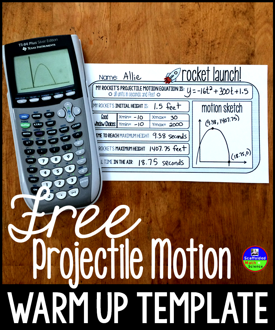 Free projectile motion warm up template | Math Grades 7-12 | Maths