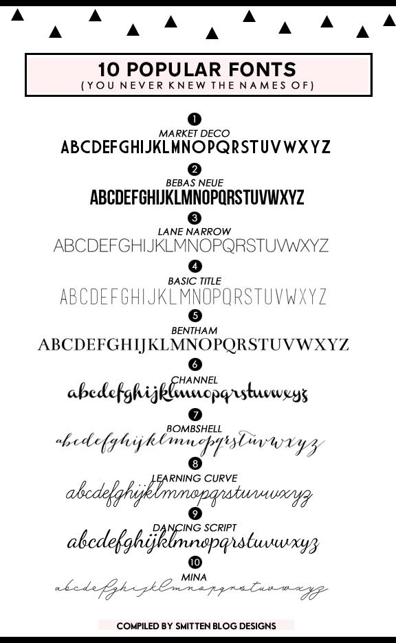 popular fonts -smitten blog designs