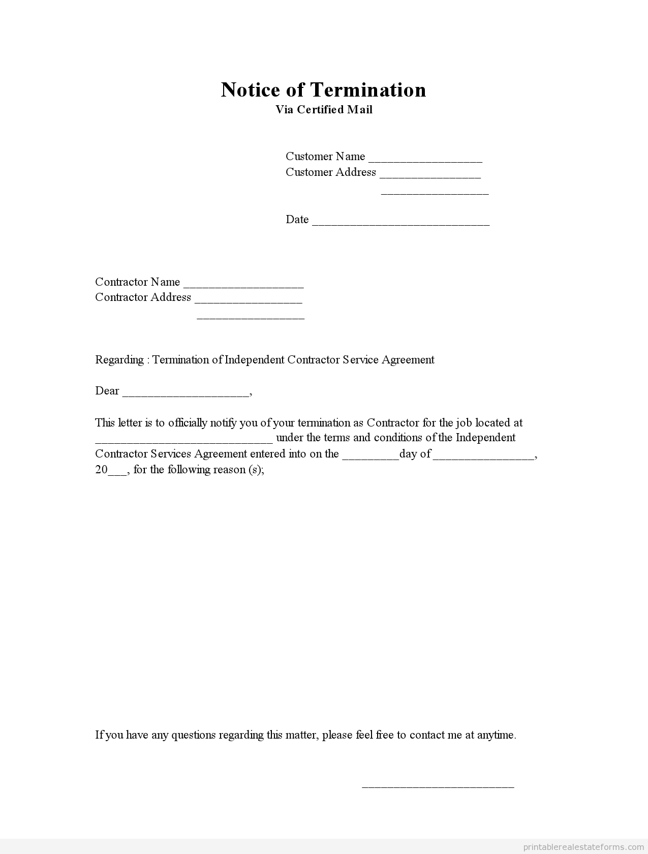 Printable Notice Of Termination Template   Sample Forms