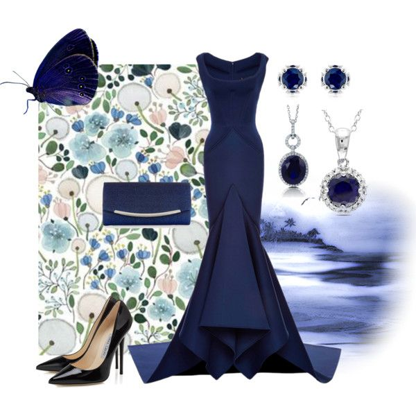 Speechless Sapphire by jennross76 on Polyvore featuring Zac Posen, Monsoon, Theo Fennell, Ice, BERRICLE, Blue, formal, bluedress, gown and sapphire