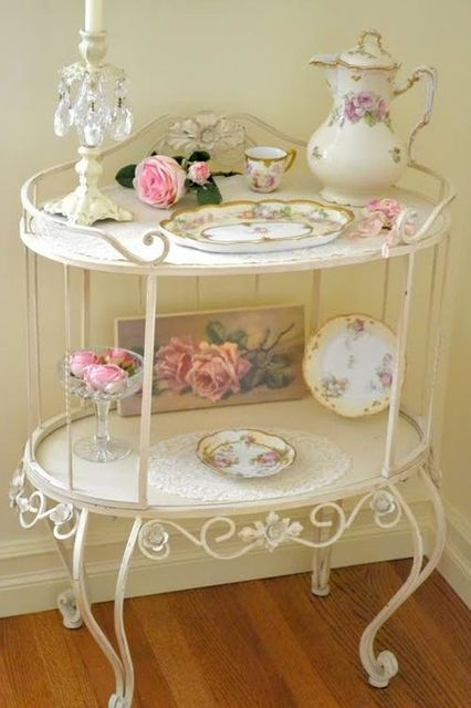 I have an antique tea cart that I want to fix up like this