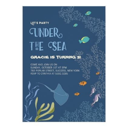 Under The Sea Aquatic Ocean Kid Birthday Card Zazzle Com Ocean