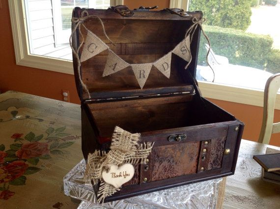 Rustic Wedding Card Box Burlap Banner Holder