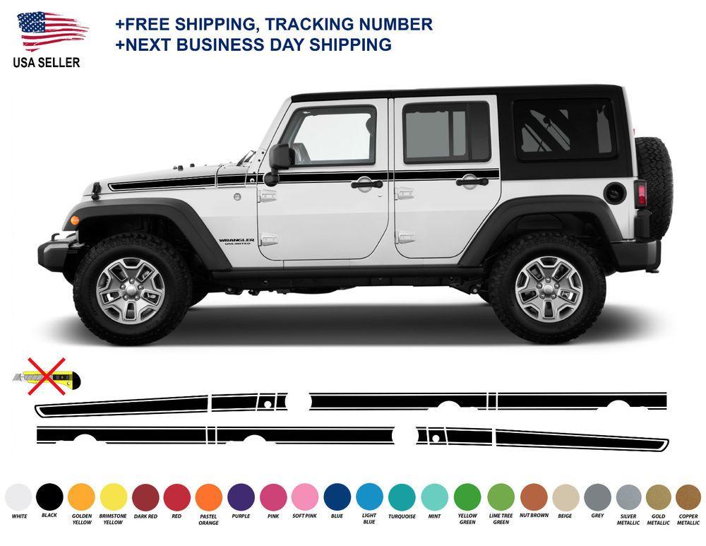 0401 Jeep Wrangler Rubicon Recon Chief Stripes Decal Graphic Jk