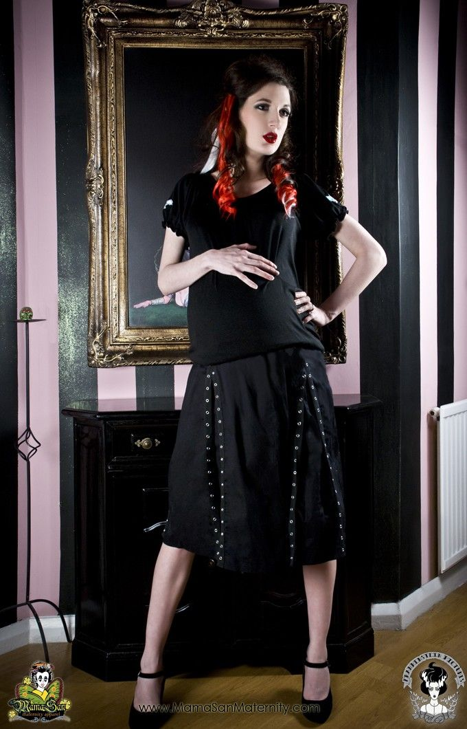 108cae1740f Maternity Skirt Goth Punk Rockabilly Black Grommet from MamaSan Maternity  Apparel.  45.00