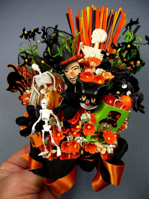 Vintage Halloween Decoration Corsage Trick or Treat Witch Skeleton