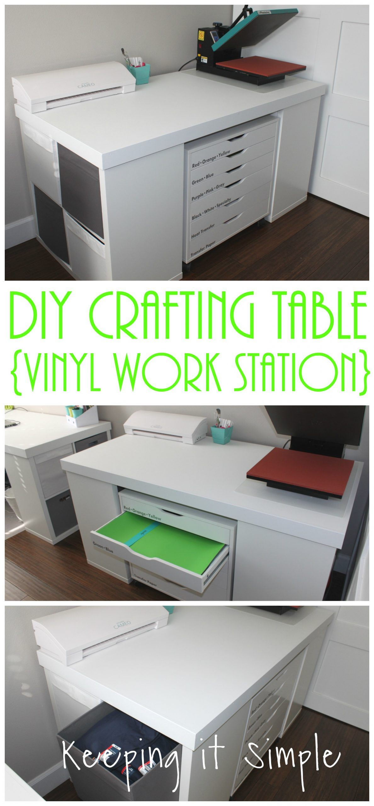 Diy Crafting Table Vinyl Work Station Keeping It Simple Craft Table Craft Tables With Storage Craft Room Design