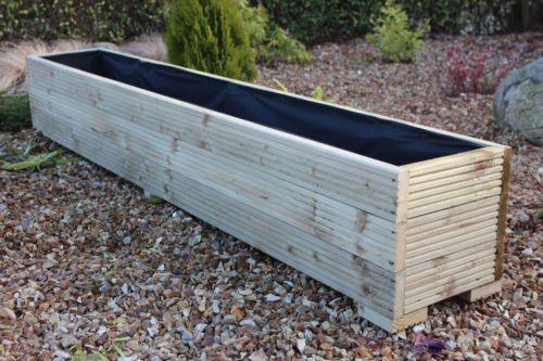 details about 2 metre long wooden garden planter trough. Black Bedroom Furniture Sets. Home Design Ideas