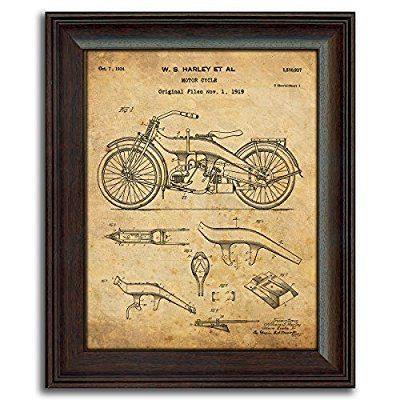 Harley Davidson Patent Prints - Framed Behind Glass 14x17 (Three ...