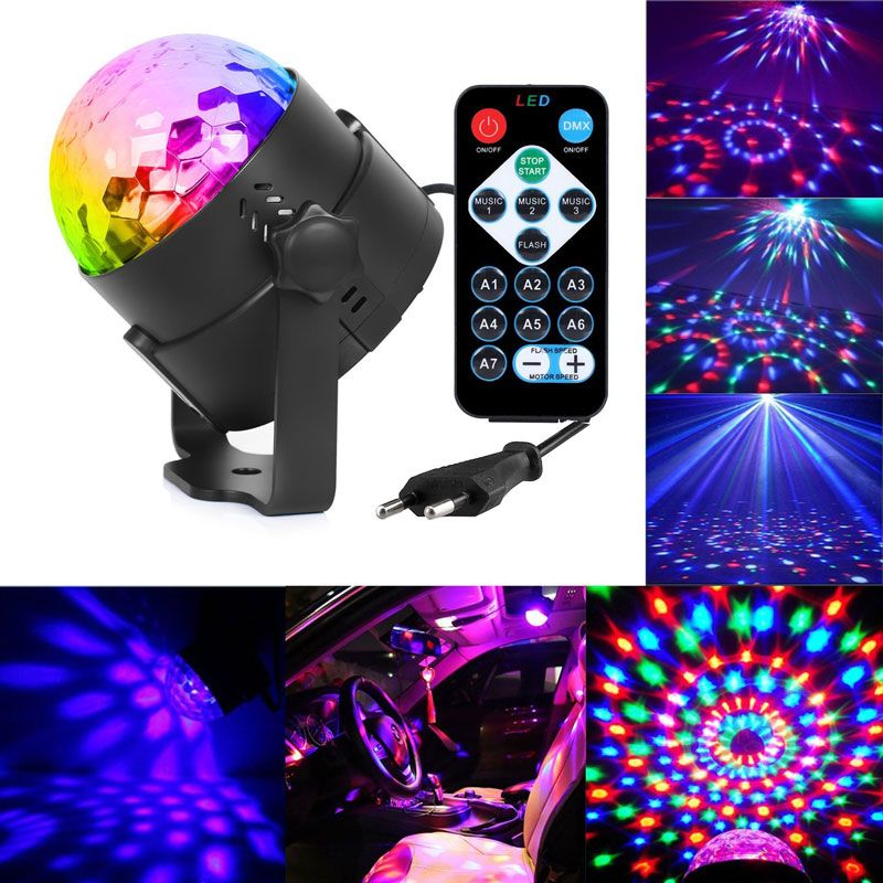 Buy 3W Mini RGB Crystal Magic Ball Sound Activated Disco Ball Stage