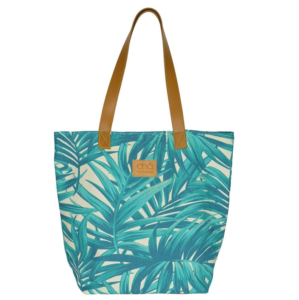 cd65b5f2e Bolsa de tecido com estampa de palmeira verde, detalhes em couro sintético  (alças e