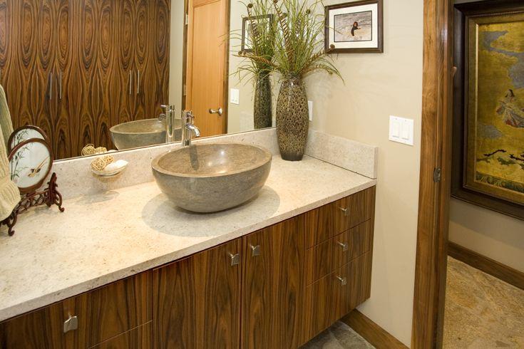 Modern Bathroom Organic Materials Natural Materials Modern Bathroom Wood Veneer Cabinets Modern Cabine Stone Flooring Flagstone Flooring Organic Interiors