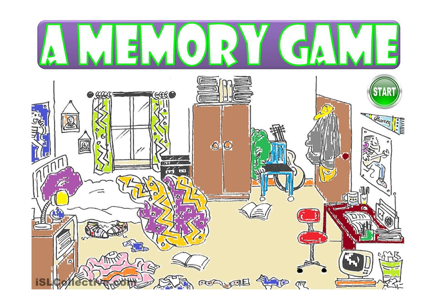 A MESSY ROOM a memory game (prepositions) ESL