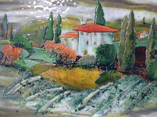 A Tuscan Village And Landscape Scene Is The Theme For This Custom Fused Glass Kitchen Backsplash